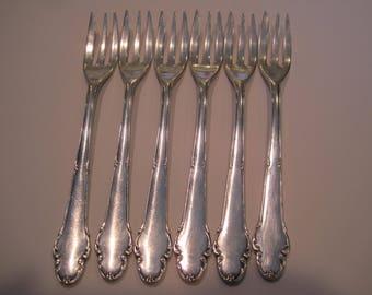 Set of 6 Antique Silver Seafood Forks