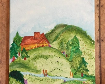 Cabin on a Hill Painting