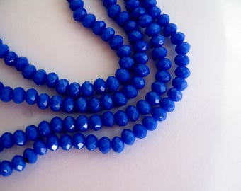 150 blue faceted glass beads royal 4x3mm