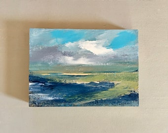 5 x 7 Marsh- Beach- Painting -Original - Beach Art - Cradled Gesso Panel - 3/4 inch natural wood edge- Ready to Hang