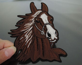 Large Iron On Patch or Sewing on Embroidery Brown Horse Patch Appliques Full Embroidered Patches