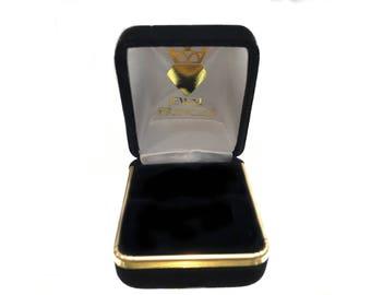 Black Velvet Ring Box with Gold Trim