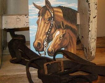 Vintage 1950's Mare & Colt Paint by Number. Horse Painting. Western Decor ~ Farmhouse Decor