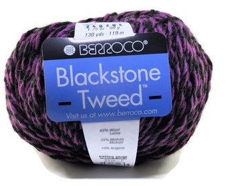 New Berroco Blackstone Tweed Wool Blend Yarn/1 Ball/Concord Grape/ 2684
