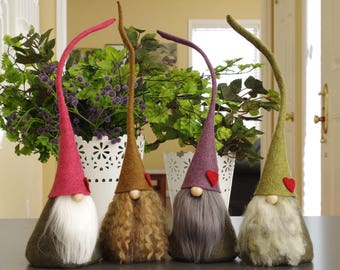 HEART Nordic Gnomes, CIMNI, Elf, Pink, Purple, Valentine Gifts, Easter, Home Gnome, Red Heart, Elves, Fairy, Woodland, Scandinavian GnomeS