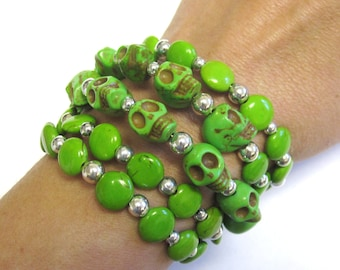 Day Of The Dead Bracelet Sugar Skull Jewelry Wrap Silver Green