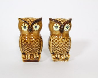 Vintage 1970s Owl Salt and Pepper Shakers, Ceramic