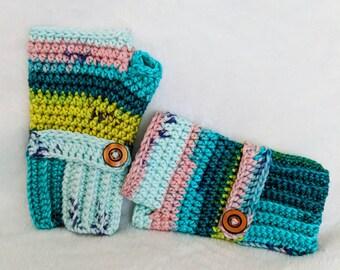 Ribbed Fingerless Crochet Gloves, Handmade Mitten, Cotton