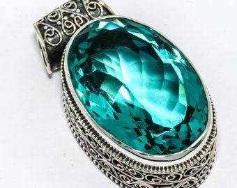 "25 GM Aqua Apatite Gemstone Vintage Style 925 Sterling Silver Jewelry Pendant 1.25"""