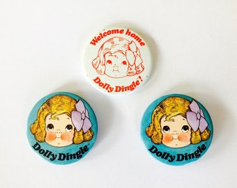 Dolly Dingle Pins 3 Vintage Dolly Dingle Buttons Vintage Campbell Soup Kids Dolly Dingle Collectibles Set of three (3) Dolly Dingle Buttons