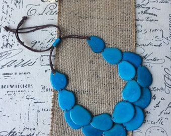Mothers day from husband Teal blue statement necklace Tagua necklace Big bold chunky necklaces Summer necklaces Jewelry for bridesmaids