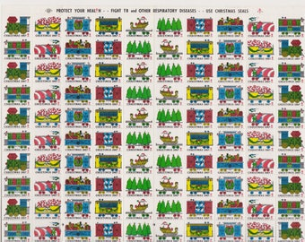 1967 Christmas Seals Issued by American Lung Association, Full sheet of 100 Seals, Christmas Train, Vintage Ephemera