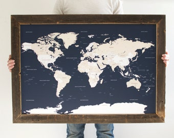 Push Pin Map, Travel Map, Husband Gift, Custom World Map, Gift for Men, Gifts for Dad, Travel Gifts, Reclaimed Wood Wall Art,Valentine's Day