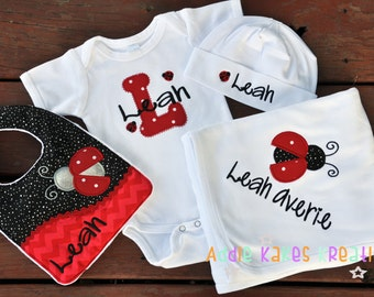 Personalized Ladybug Baby Gift Set / Bodysuit, Cap, Blanket, and Bib / Any Color Scheme