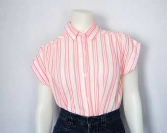 60s candy striper blouse, vintage cotton shirt -- striped blouse, short sleeve shirt, pinstripes, retro, cute, 1960s 60s, small
