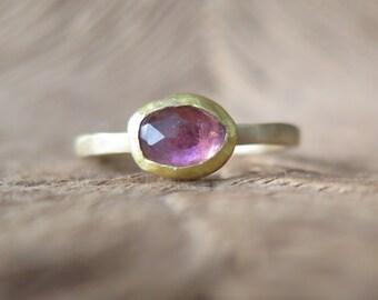 Tourmaline ring-slice tourmaline ring-rose cut tourmaline ring-pink tourmaline free form gold ring