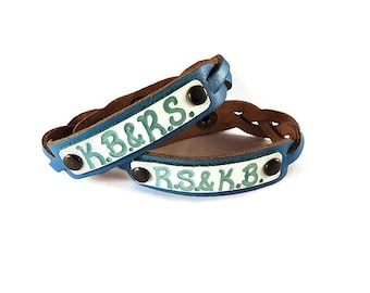 Personalized gift - Leather engraved name bracelet - Couples Jewelry - Engraved Leather Custom Bracelets - His and her giftsSKU1054