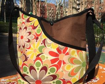 Pop Floral Print Canvas Market Bag, Cross Body Shoulder Bag, Hobo Bag, School Bag