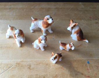 Vintage Porcelain Dog Figurines, Spaniel Figurines, Terrier Figurines, Collectible Figurines, Dog Family, Dog Statues, Bone China Dogs