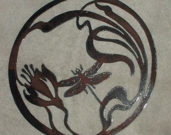 Dragonfly in Lotus Flower-  Metal Garden/Wall Art- Suitable for Interior or Exterior