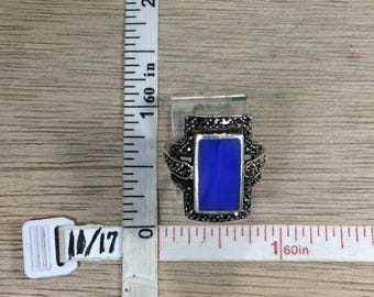 Vintage 925 Sterling Silver 5.6g Ring Size 7 Marcasite Blue Stone Missing Marcasite Stones Used