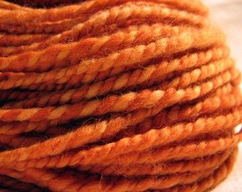 Fuzzy Pumpkin handspun naturally dyed organic Polwarth wool yarn