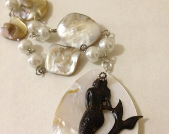 Mermaid and Abalone Shell Necklace Mother of Pearl