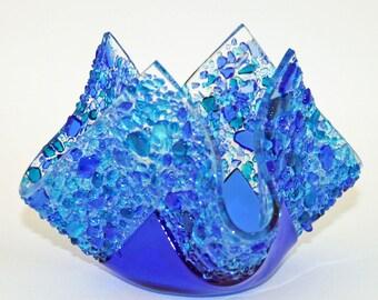 Glassworks Northwest - Votive Blue - Fused Glass Candleholder