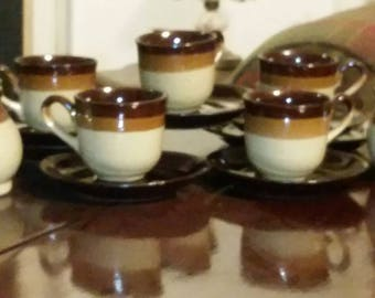 antique stoneware pottery cups, saucers, sugar bowl & creamer