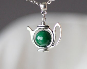 Jade Teapot Necklace Green Teapot Necklace Emerald Green Necklace Tea Necklace Tea Jewelry Silver Teapot For Tea Lover Tea Party Jewelry Tes