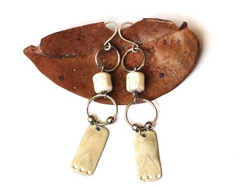 Etched Silver Earrings with Magnesite Stone (E1317)
