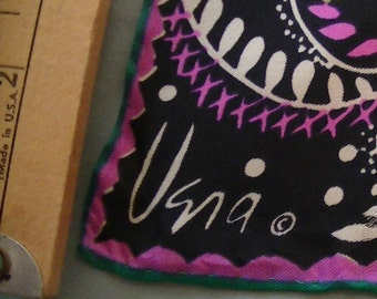 VINTAGE Vera Silk Scarf, Black, Teal, Pink, and White Colors