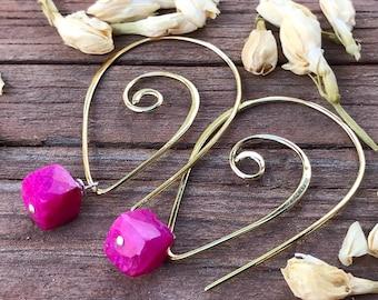 Ruby Moonstone Earrings Vermeil interchangeable