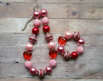 Valentine's Chunky Necklace Set, Pink and Red Necklace, Valentine's Necklace Set, Valentine's Baby
