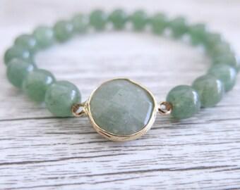 Jade Bracelet Gemstone 8mm Bead Gemstone Stretch Bracelet Faceted