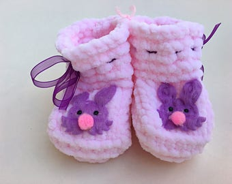 Newborn Baby Booties-Crochet Boots-Socks-Girls-Boys-Baby Shower-Gift for Baby-Pink-Ready to Ship-Crochet Baby Booties-Boy Booties