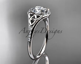 14kt  white gold diamond celtic trinity knot wedding ring, engagement ring  CT7126