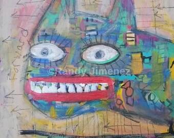 Original Outsider Art Painting - Primitive art - Art Brut - CAT -