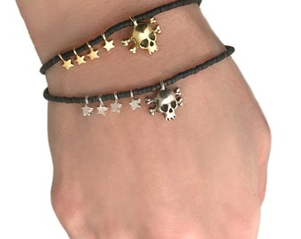 Skull Bracelet     crossbones beaded beads star black silver gold stretchy stackable stacking sterling