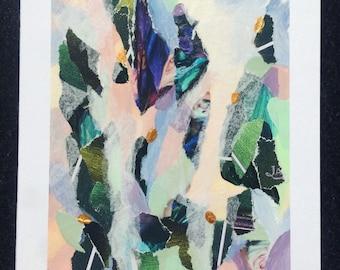 Abstract painting, mixed media, mini painting, violet, greens