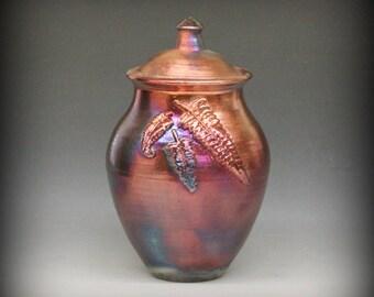 Raku Urn or Lidded Vase with Fern Design in Metallic Iridescent Colors