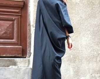 SALE New Maxi Linen Dress / Black Kaftan Linen Dress / One Shoulder Dress / Extravagant Long  Dress / Party Dress  by AAKASHA A03544
