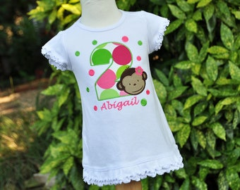 Girls Monkey Party Dress - Monkey Birthday Party - Toddler Girls - Ruffle - Tank - Straps - Polka Dots - Personalized - First Birthday