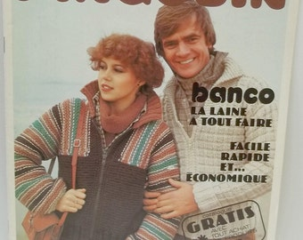 vintage knitting French pattern book by Pingouin,20 pages,men and women,easy patterns,fast end economic,patron facile,rapide et economique