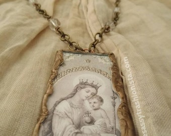 Mother Mary Rosary Inspired Antique Holy Card Pendant