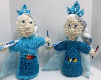 Princess Doll, Crayon Doll Holder, Artist Doll, Stuffed Doll, Soft Toy, Snowflake, Crayon Holder, Artist, Frozen, Princess, Birthday Gift