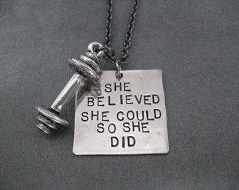 SHE BELIEVED She Could So She Did BARBELL Necklace - Hand Hammered Nickel Silver Pendant on Gunmetal Chain - She Believed Workout Necklace