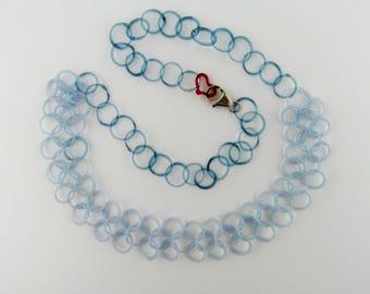 Collier fait main de chainmail - chaîne de verre Boro - quelque chose bleu Collier - Collier mariée Borosilicate Art verre Chainmaille - Murano
