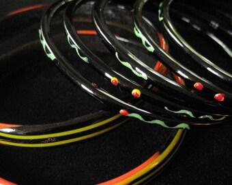 Set of 7 Black Glass Bangle Bracelets
