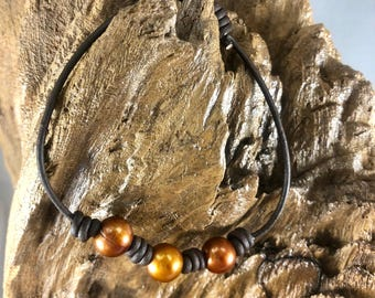 Leather Anklet - Pearl Anklet - Beach Jewelry
